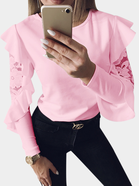 Pink Lace Insert Round Neck Long Flared Sleeves T-shirt