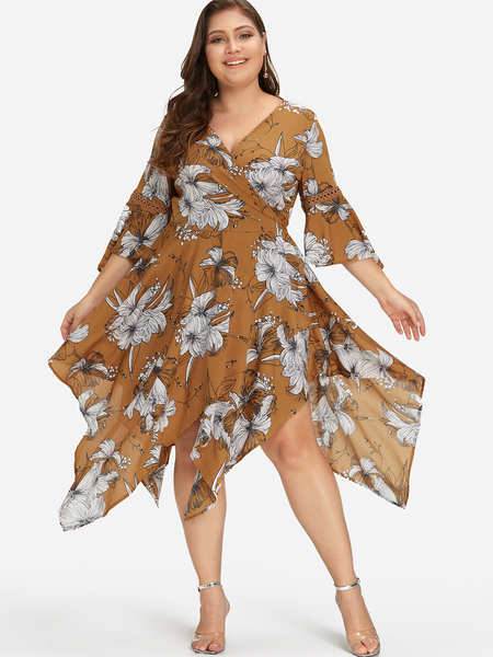 Plus Size Khaki Floral Print Self-tie Bell Sleeves Dress