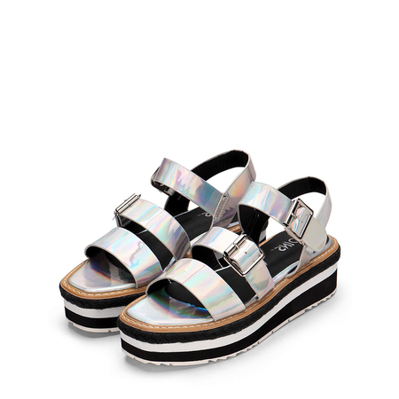 Silver Metallic Twin Pin Buckle Strap Open Toe Platform Flat Sandals