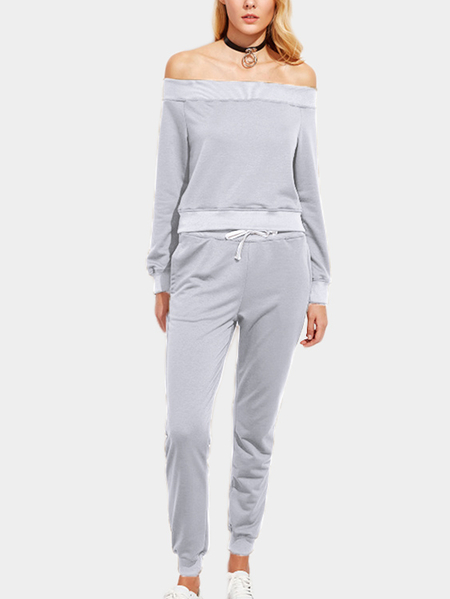 Grey Off The Shoulder Long Sleeves Two Piece Outfits