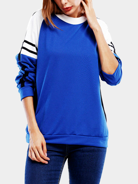 Blue Stripe Pattern Round Neck Long Sleeves Sweatshirt