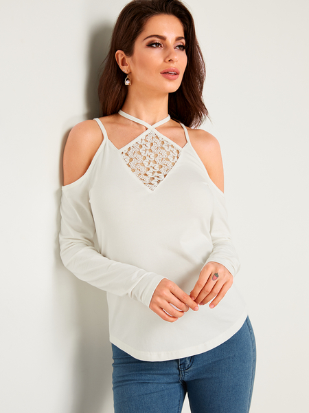 White Halter Lace Long Sleeves Fashion Blouse