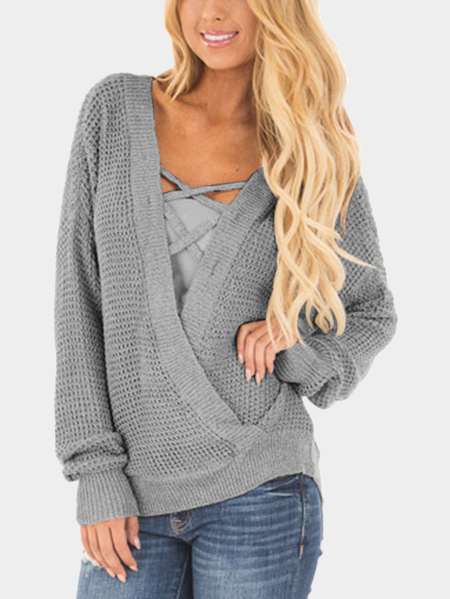 Grey Crossed Front Design Reversible Knit Sweater