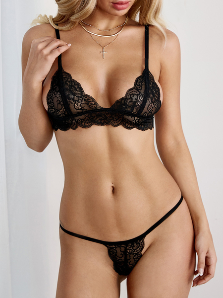Black Closure Lace Strappy Lingerie Set