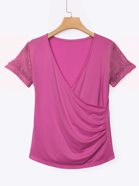 Rose Low Cut V-neck Wrap Front Lace Insert Blouse