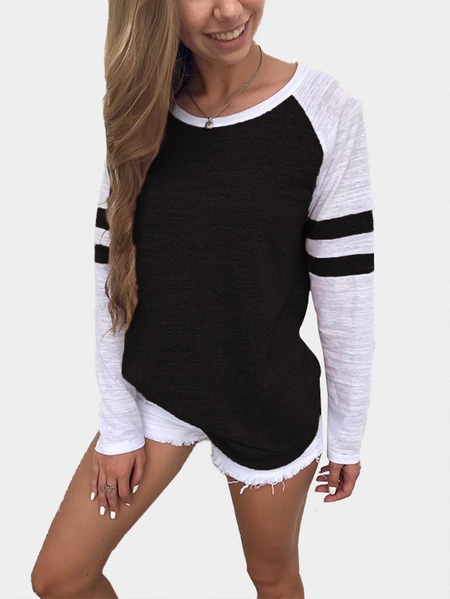 Black Spell Color Round Neck Long Sleeves T-shirt