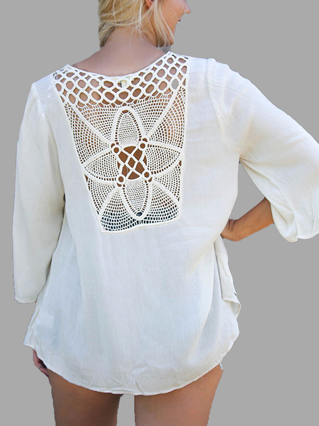 White Lace-Up 3/4 Sleeve Top With Crochet Back