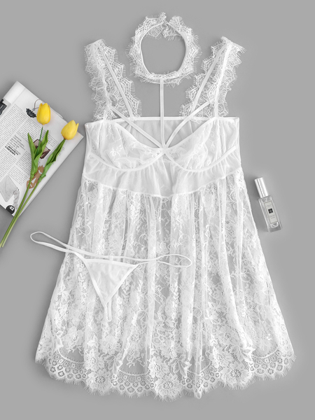 Plus Size White Mesh Insert Floral Lace Dress With Thong