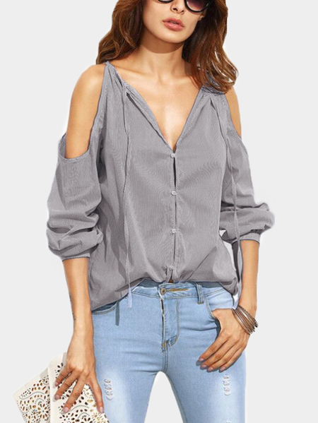 Grey Pinstripe Pattern Cold Shoulder Self-tie Sexy Blouse