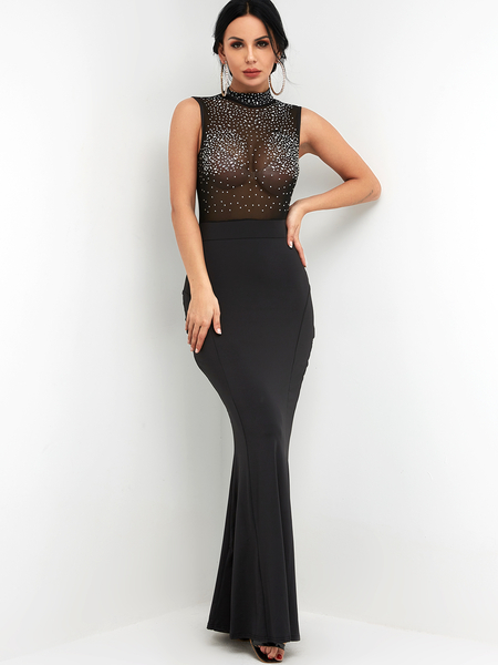 Black Mock Neck Rhinestone Sheer Mesh High-waisted Fishtail Maxi Evening Dress
