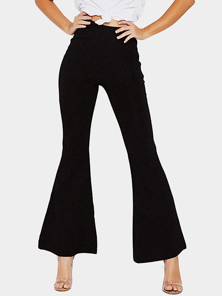 Black High-rise Flared Hem Wide Leg Pants