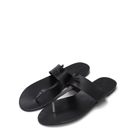 Black Leather Look Simple Style Flat Sole T-bar Strap Slippers