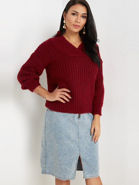 Burgundy Plain Off The Shoulder Long Sleeves Loose Fit Sweaters