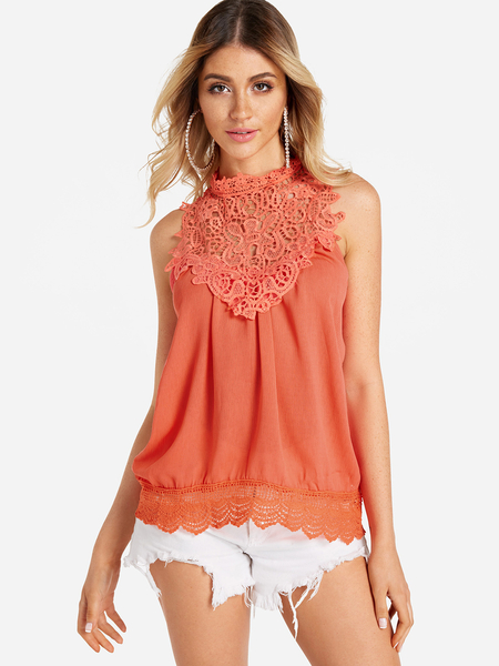 Red Lace Insert Round Neck Tank Top