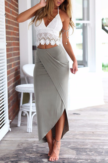 Sexy Lace Crop Top & Slit Skirt Two Piece Outfits