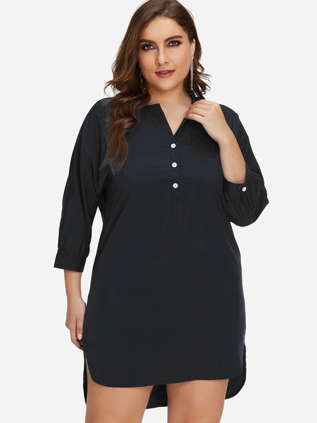 Plus Size Black Button Detail Mini Dress