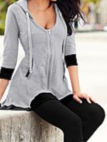 Casual Irregular Cropped Zipper Blouses With Hood