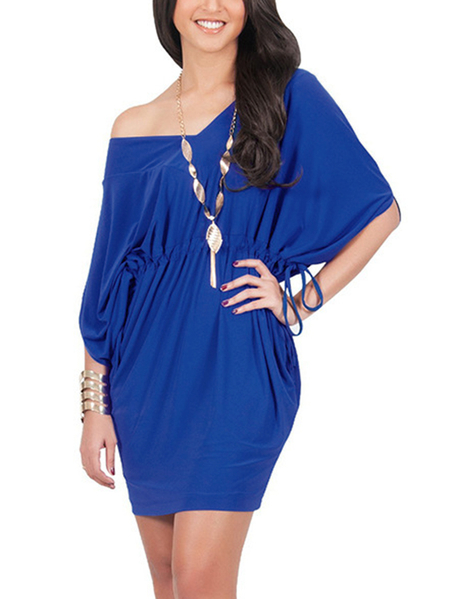 Blue One Shoulder V-neck Bat Sleeves Drawstring Waist Dress