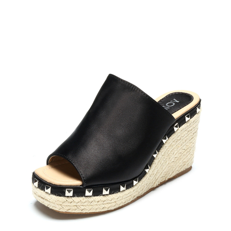 Black Rivet Embellished Wedge Satin Slippers
