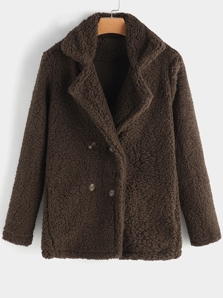 Coffee Side Pockets Plain Lapel Collar Long Sleeves Faux Fur Coat