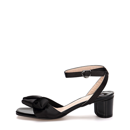 Ankle Strap Block Heel Sandals With Black Bowknot Embellishment