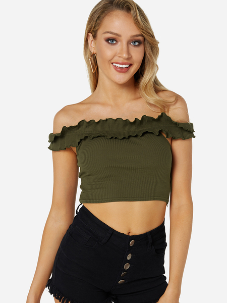 Green Falbala Design Off The Shoulder Knitted Crop Top