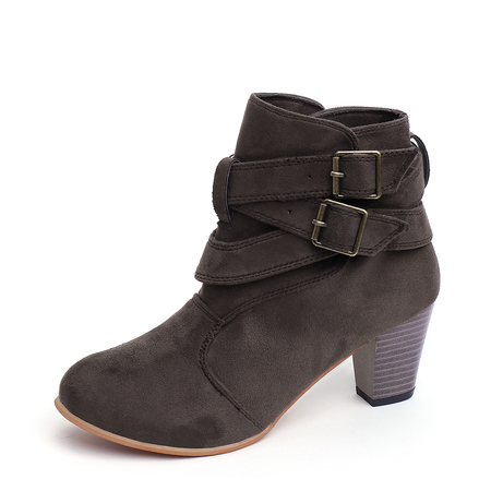 Coffee Buckle Point Toe Chunky Ankle Boots