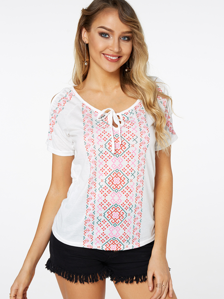 White Random Floral Print Cold Shoulder Causal T-shirt