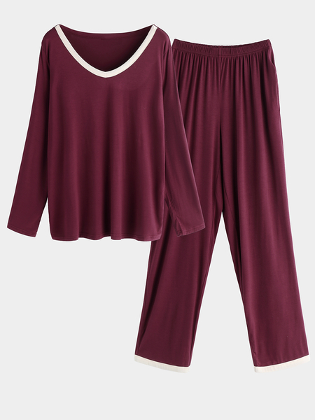 Burgundy Side Pockets V-neck Long Sleeves Pajama Sets
