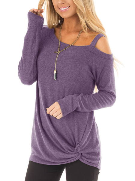 Dusty Purple Crossed Front Design Plain One Shoulder Long Sleeves T-shirts