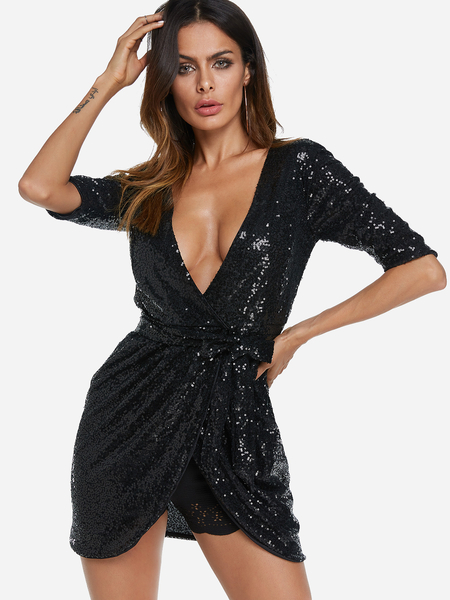 Black Self-tie Sequins Embellished Deep V Neck Short Sleeves Dress