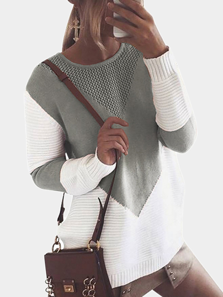 Grey Knitting Patchwork Sweaters with Hollow Out Design