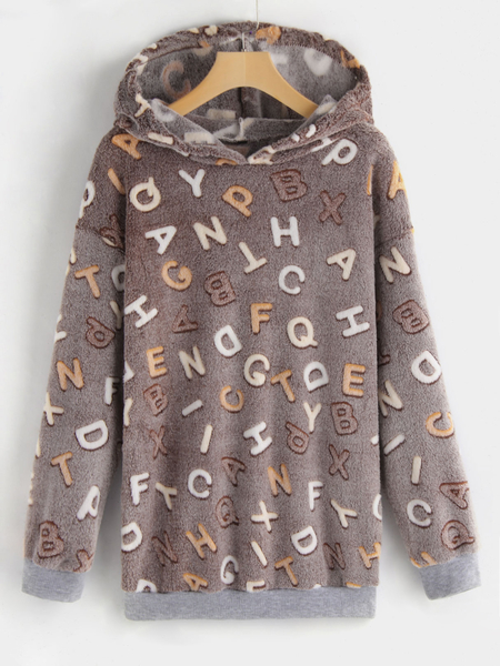 Light Coffee Letter Partern Pullover Faux Fur Hoodie