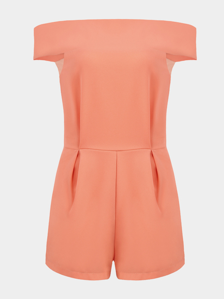 Off Shoulder High Waist Playsuit with Zip Back Fastening