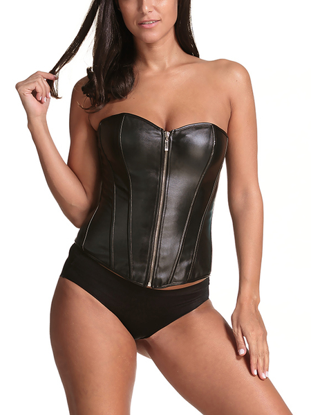 Black Leather Zip Front Closure Lace-up Corsets with Briefs