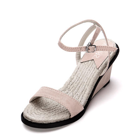 Apricot One Strap Across Woven Style Sole Wedge Sandals