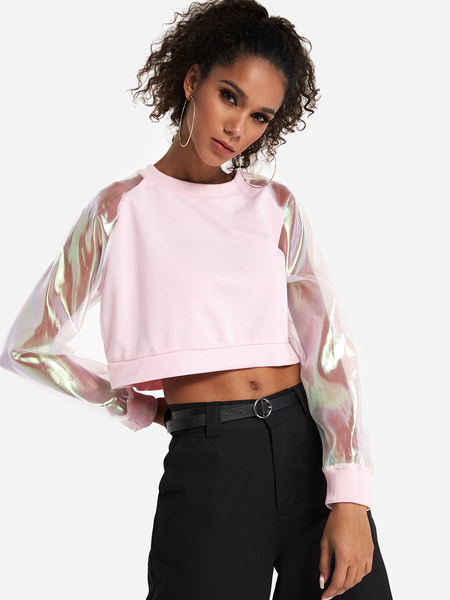 Pink Color Block Long Sleeves Crop Sweatshirt