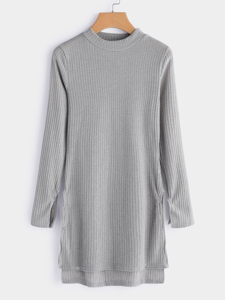 Grey Cable Knit Slit Details Round Neck Long Sleeves Jumper