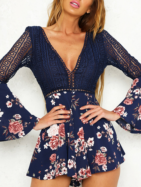 Navy Lace Insert Floral Print Deep V Neck Flared Sleeves Playsuits