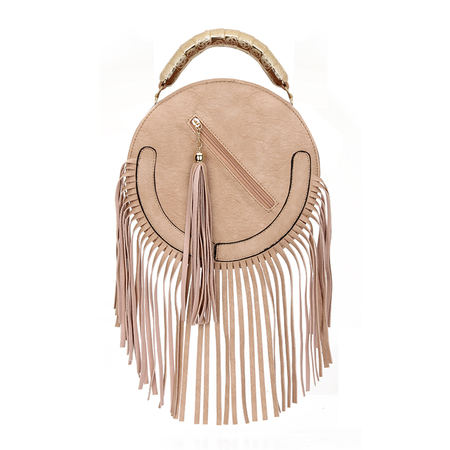 Round Leather-look Fringe Gold Top Handle Bag in Pink