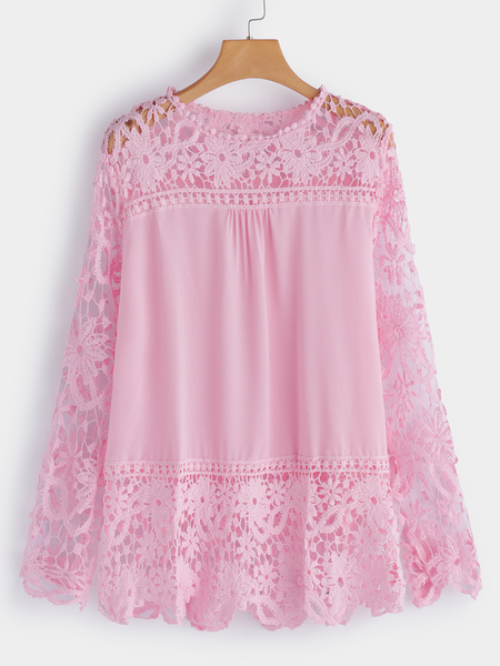 Plus Size Pink See-through Lace Insert Top