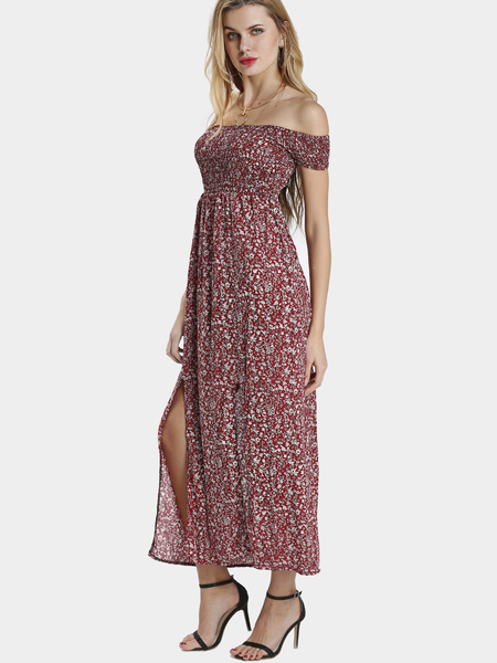 Floral Print Slit Off Shoulder Maxi Dress
