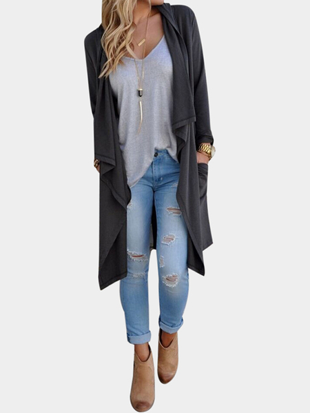 Grey Casual Open Long Sleeve Cardigans