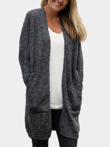 Dark Grey Long length Cardigans with Two Pockets