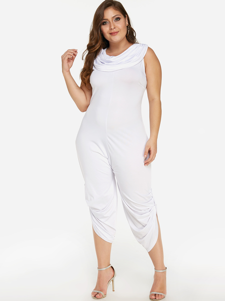 Plus Size White Pleated Design Drape Sagging Sleeveless Jumpsuit