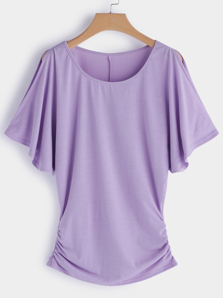 Purple Pleated Design Round Neck Bat Sleeves T-shirts