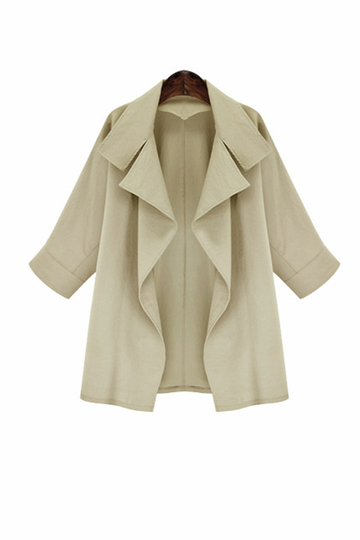 Khaki Loose 3/4 Length Sleeves Trench Coat