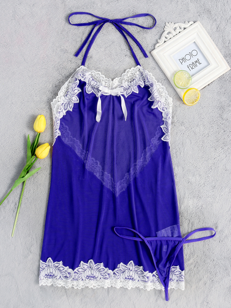 Blue Sexy Lace Insert Backless Halter Pajamas