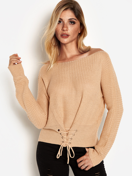 Beige Lace-up Design Round Neck Long Sleeves Sweater