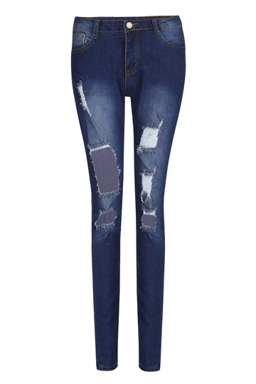 Skinny High-waisted Design Ripped Jeans
